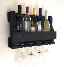 Wall Hanging Wine Rack, 5 Bottle, 4 Glass Holder, Rustic modern