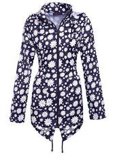 Womens Lightweight Hooded Zip Daisy Floral Raincoat Jacket Kagool Size S-XXL