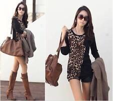 QB Ladies' Womens Leopard Print Elegant Long Sleeve  Top/T-shirt