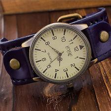 Fashion Leather Vintage Watch Luxury Mens Womens Quartz Analog Casual Wristwatch