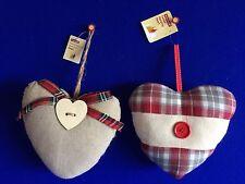 En Forme De Cœur Naturelle & Tartan Décoration Tenture Noël Saint Valentin Amour