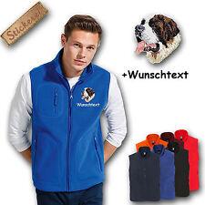 Fleece Weste Fleeceweste bestickt Stickerei Hund Bernhardiner + Name
