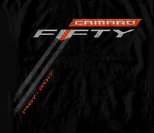 GM / Chevrolet Camaro Fifty Logo Stripe BLACK Adult T-shirt