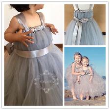 Grey Baby Flower Girl Tulle Tutu Birthday Party Dress Wedding Xmas