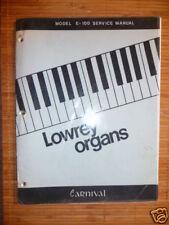 Service MANUAL Lowrey Carnival, model e-100 organo, ORIGIN