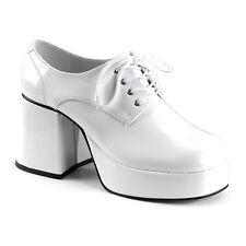 White Platform 70s Disco Pimp Pee Wee Herman Costume Shoes Mens size 9 10 11 12