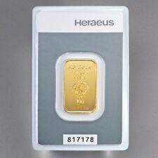 Heraeus 999 ORO FINO 1-5-10 gramos Oro Barras de con zertifkat muy noble
