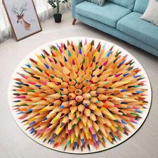 3D Crayon Pencil Pattern Area Rug Round Floor Mat Carpet Crawling Mat Home Decor