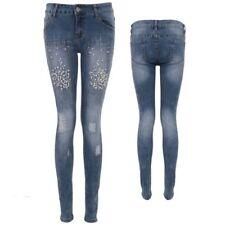 Pour Femmes Strass Perle En Détail Bas Rose Découpé Déchiré Délavé Jeans Moulant