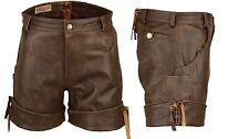 Kurze sportliche Lederhose Ledershorts mit Bein-Umschlag braun