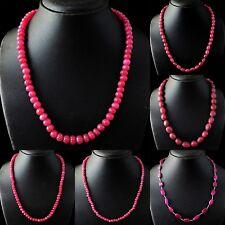 Genuine Red Ruby Single Strand Oval & Round Shape Beads Handmade Necklace