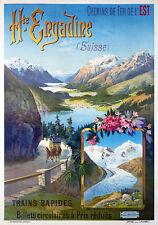 Affiche chemin de fer Est - Haute-Engadine (Suisse)