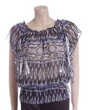New Carbon Blouse Top Size 10 12 14 16 Blue & Black Aztec Print Sheer