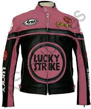 Lucky Strike Nuevo Negro/Rosa cuero Biker moto chaqueta-Todas las Tallas!