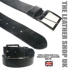 """Grano Completo Hide 1.5"""" Cuero Auténtico Cinturón Hombre Plata Hebilla Cuadrada"""