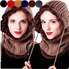Women Snow Crochet Knit Slouchy Beanie Beret Cap Thick Warm Men Ski Hat Scarf