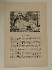 c/ vintage nursery rhyme engraving & music THE LAZY CAT