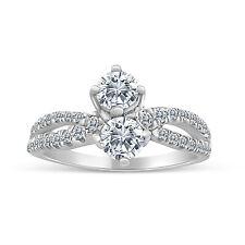 3/4ctw Diamond Two Stone Ring in 10k White Gold (L-M, I2-I3, 3/4ctw)