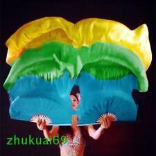 2 Pcs(Left+Right)100%Real silk belly dance fan veil Blue/Green/Yellow(1.5m 1.8m)