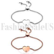 Stainless Steel Women's Ladies Charm Heart Dangle Promise Chain Bracelet Bangle