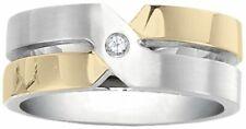 Dolan Bullock Milan Stainless Steel  18k gold w/diamond ring nrg10200d msrp $380