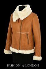 Ladies Sheepskin Jacket White Shearling Collared Real Sheepskin Bomber Jacket