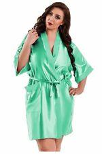 Bademantel Morgenmantel Satin XXL-Größen in Mint - top elegant - Kimono Neglige
