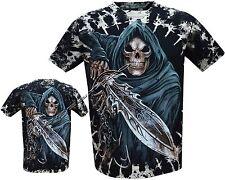 Mens Grim Reaper Glow In The Dark Skull Tye Dye T-Shirt,Front & Back Print M-XXL