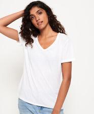 Superdry T-Shirt mit V-Ausschnitt in Ausbrenneroptik