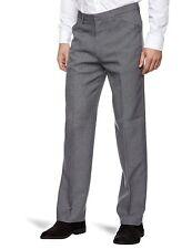 Nouveau homme farah pantalon foncé gris moyen natté tissage coupe droite anti tache