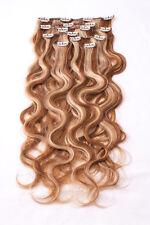 #4/27 gesträhnt Clip in GEWELLT Hair Extensions Remy Echthaar 7 teilig Set
