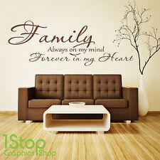 Familia para siempre en mi corazón etiquetas de pared citar-Dormitorio Amor el arte de pared calcomanía x286