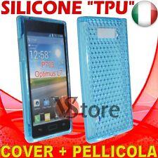 Cover Custodia Per LG Optimus L7 P700 Azzurro Gel Sicone TPU  + Pellicola