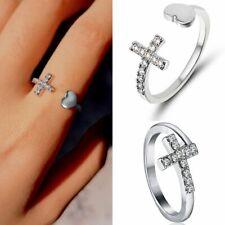 Fashion Zircon Cross Open Heart Knuckle Rings Silver Adjustable Women Jewellery