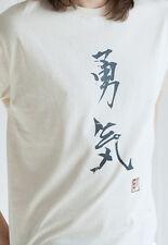 Japanese T Shirt Courage Calligraphy Japan Martial Arts Kanji Yoga Anime Tee Men