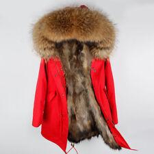 Women Large Real Raccoon Fur Collar & Lined Coat Winter Long Parka Warm Jacket