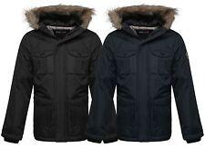 New Kids Boys Quilted Padded Waterproof Fur Hood Multi Pocket Parka Coat Jacket