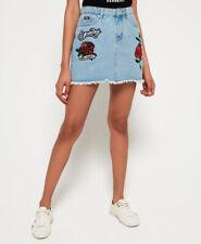 New Womens Superdry Denim Micro Mini Skirt Stone Rose
