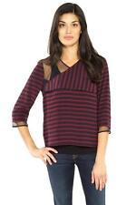 BCBG Max Azria Skyla Bordeaux Navy Maroon Combo Silk Party Top Shirt NEW Striped