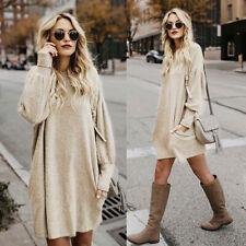Women Ladies Loose Soft Warm Sweater Knitted Long Sleeve Blouse Mini Dress