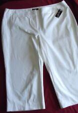 Women's White Cotton Cropped Pants Size 22W 24W NWT INC