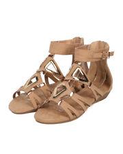New Women Refresh Mosso-02 Faux Suede Open Toe Metallic Gladiator Sandal