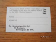 1983/1984 Ticket: Birmingham City, Competition Slip For Free Season Ticket & Car