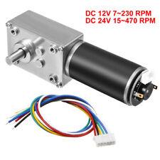 DC 12V/24V 7-470RPM High Torque Self-Locking Worm Gear Motor w Encoder, Cable