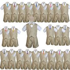 Baby Boys & Toddler Formal Vest Shorts Khaki Suits Extra Necktie 6pc Set sz S-4T