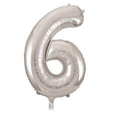 Plata número 6 6 fiesta cumpleaños gigante con Forma Globo Helio Metalizado