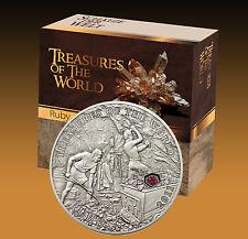 Top Rare! 5$ 2011 Palau Treasures of the World - Ruby / Rubin im ETUI