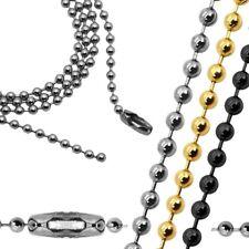 Collana Bracciale Perla Palla Catena Ø 2,4mm Oro Argento Nero 22 50 55 60 70 cm