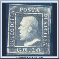 Italia ASI 1859 Sicilia 20 grana grigio ardesia n. 13 Usato Diena Antichi Stati