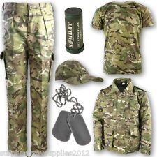 BOYS ARMY SOLDIER OUTFIT CAMO TROUSERS T-SHIRT COAT CAP FACE PAINT TAGS KIDS BTP